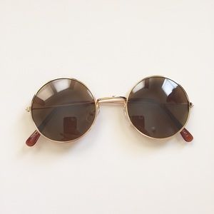 Brown retro circle round sunglasses